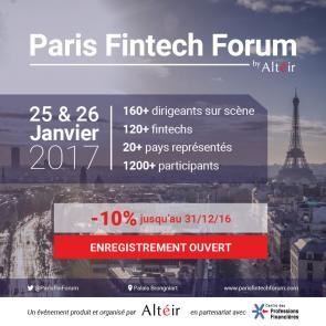 Paris Fintech Forum 2017 tarifs préférentiels !