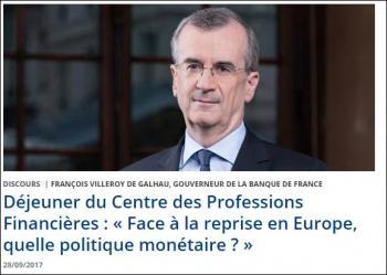 Discours Villeroy de Galhau sur Politique monétaire face à la reprise en Europe